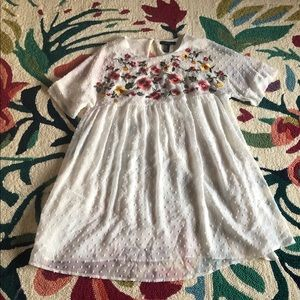NWOT White Babydoll Dress w/ Embroidered Flowers